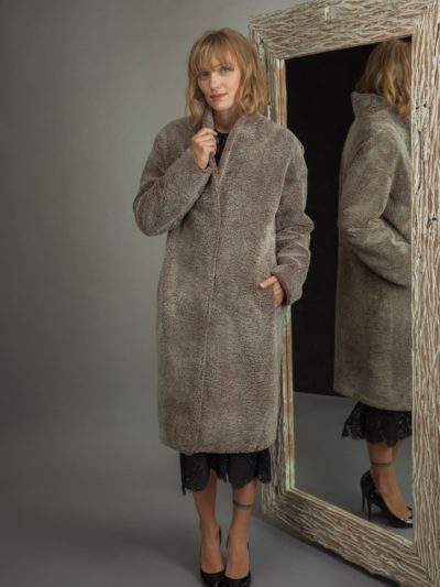 long brown shearling fur coat