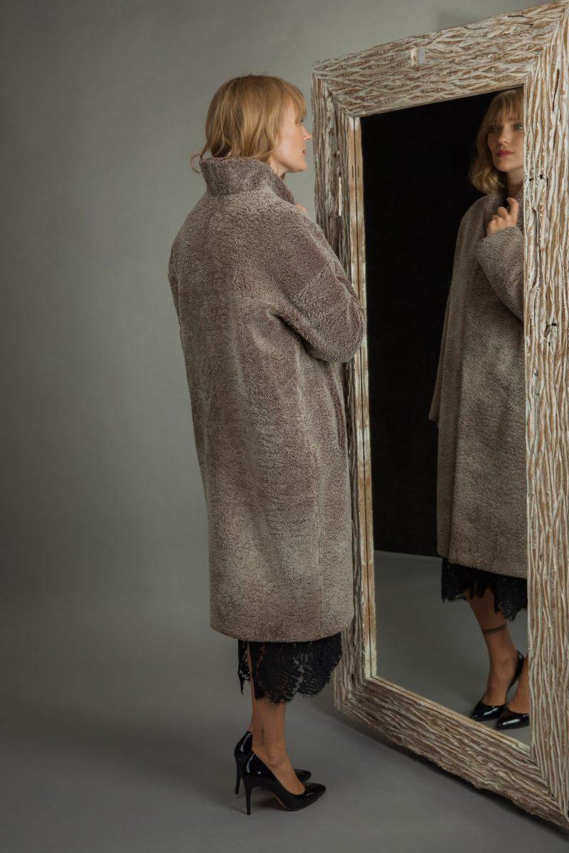 long brown shearling fur coat