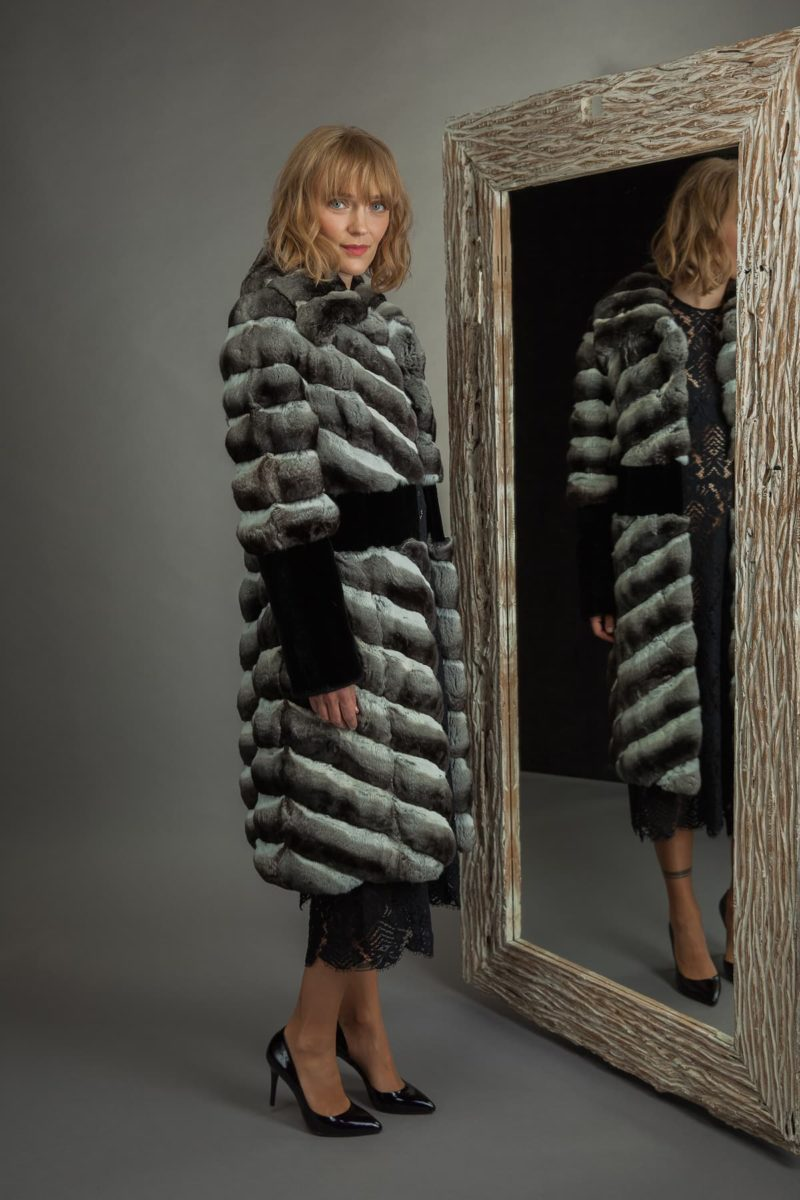 long chinchilla fur coat with black mink decoration