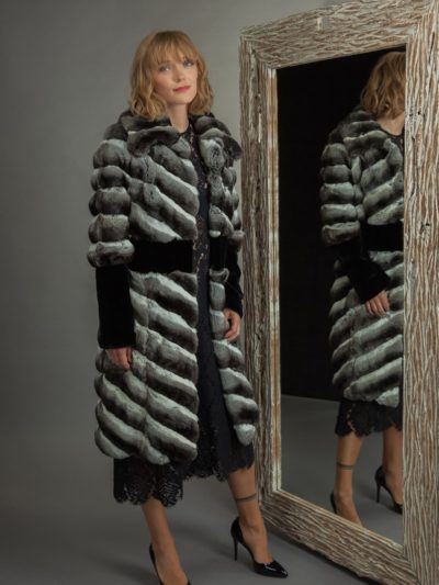 long chinchilla fur coat with black mink decoration
