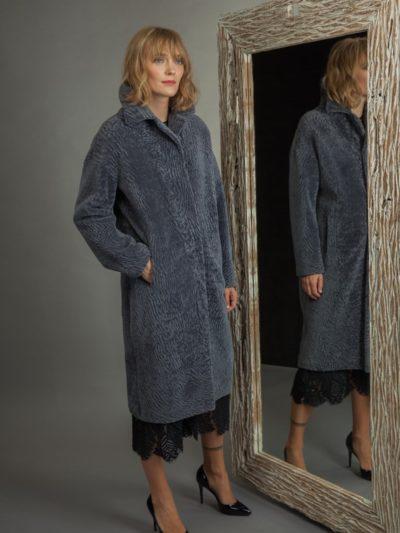 long classic dusty blue mouton sheepskin fur coat