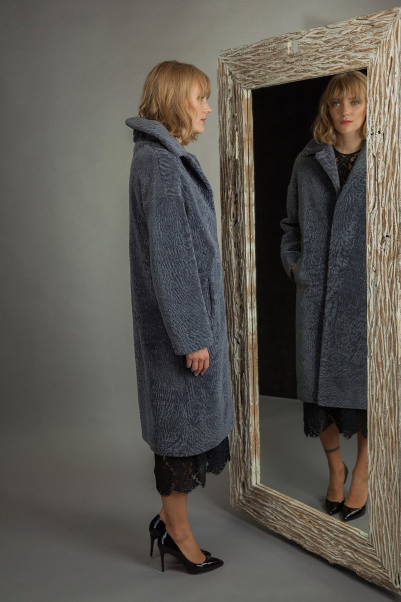 long classic dusty blue mouton sheepskin fur coat