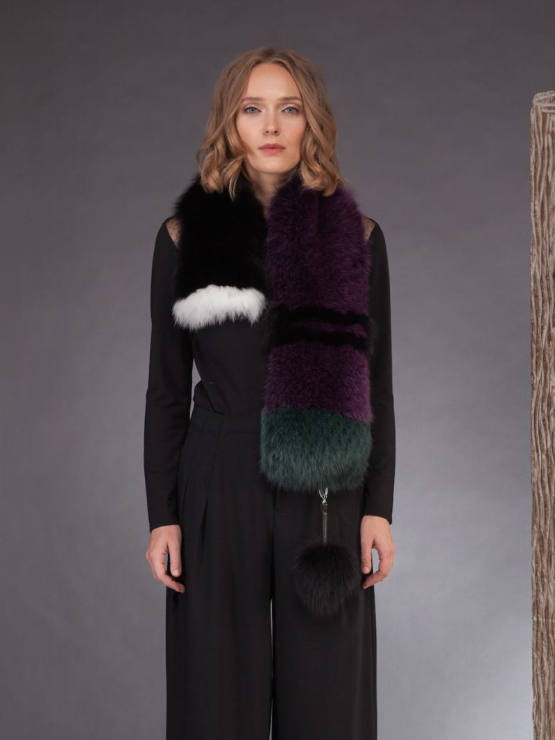 long multicolor fox fur scarf in purple white green