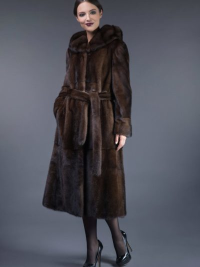 long natural brown mink fur hooded coat tied with belt