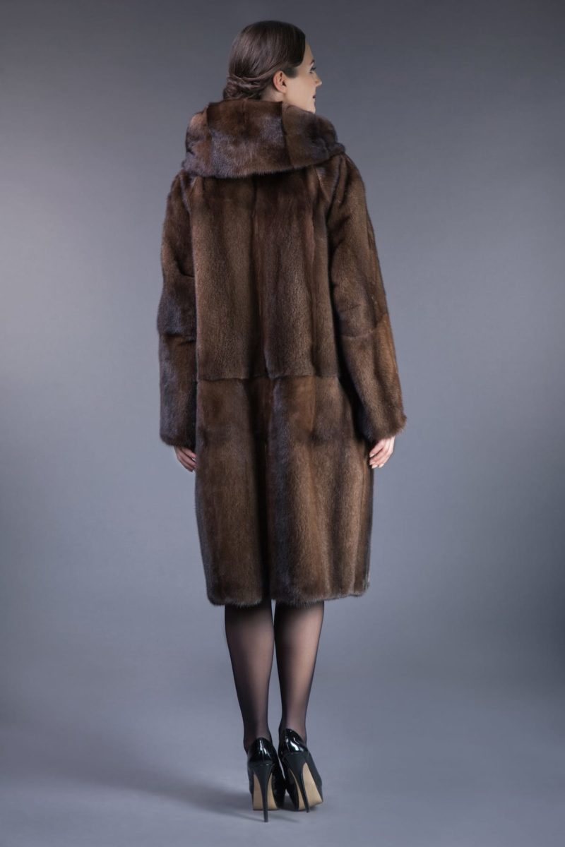 long natural brown mink fur hooded coat tied with belt