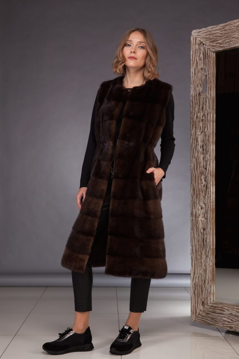 long natural brown mink fur vest