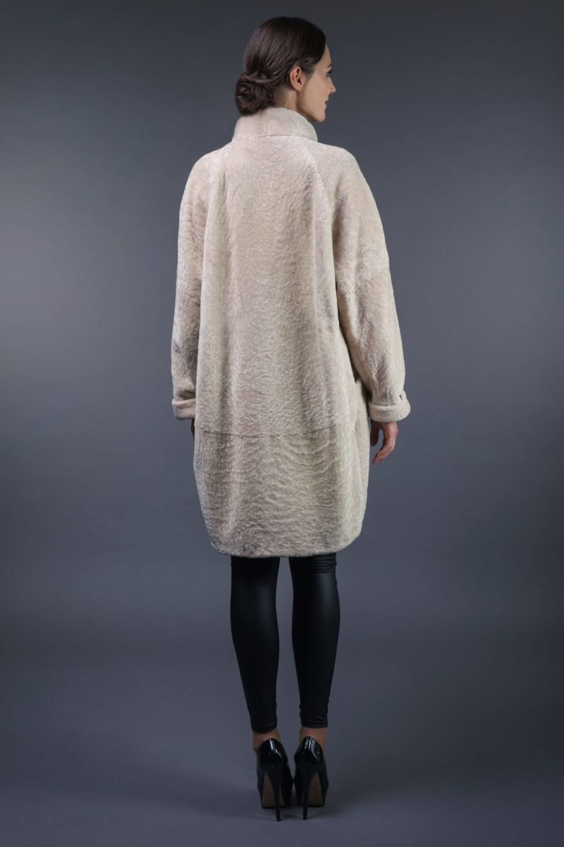 mouton fur coat with high collar