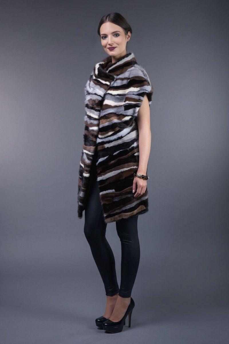 multicolor mink fur stripes vest