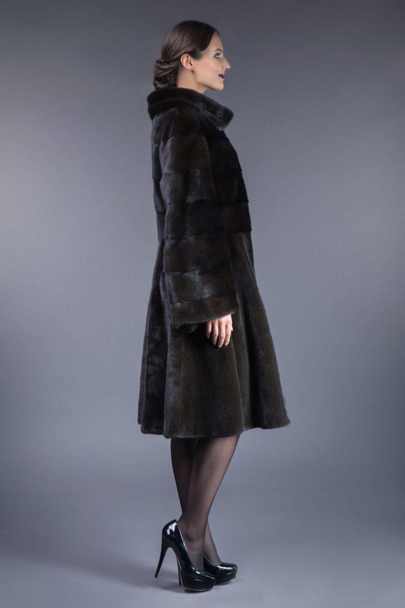 natural black velvet mink fur coat