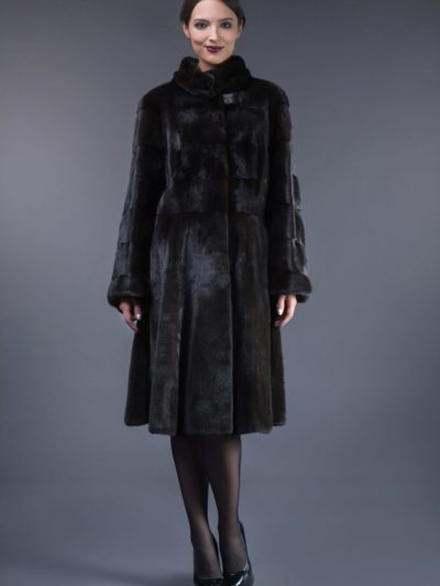 natural black velvet mink fur coat