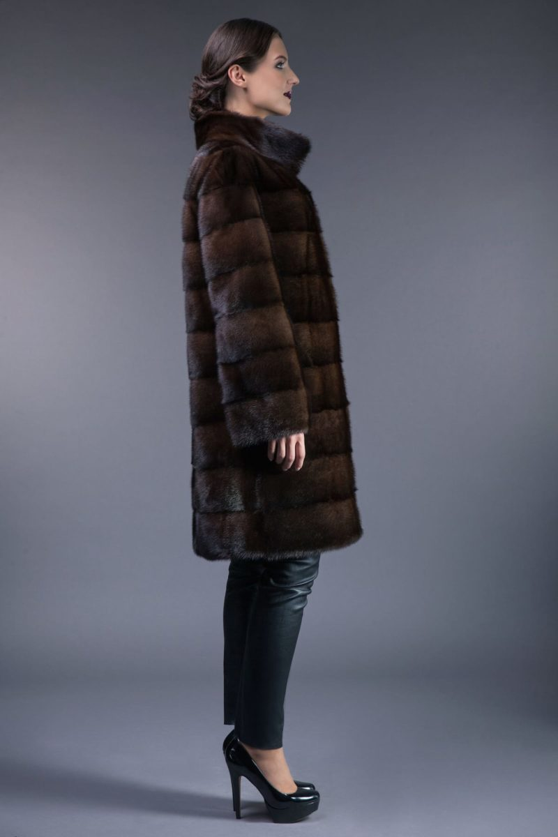 natural brown horizontal mink fur coat