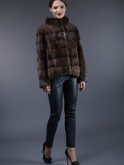 natural brown horizontal mink fur jacket