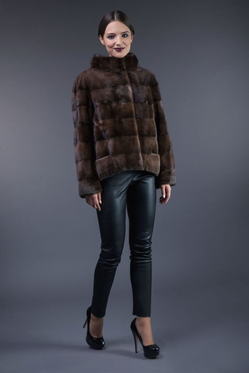 natural brown horizontal mink fur jacket