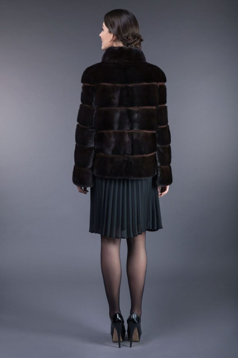 natural brown mink fur jacket with wool inserts