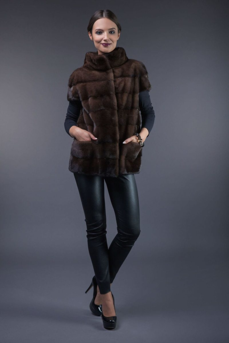 natural brown mink fur vest with high round collar