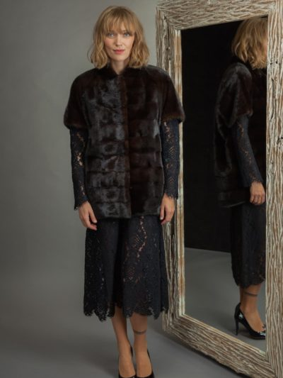 natural dark brown mink fur vest with shoulders
