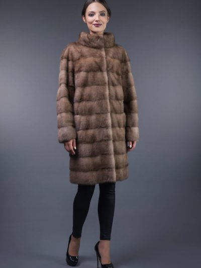 natural pastel horizontal mink fur coat
