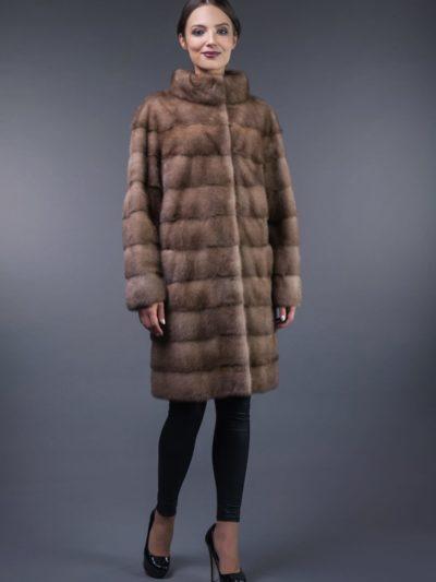 natural pastel horizontal mink fur coat
