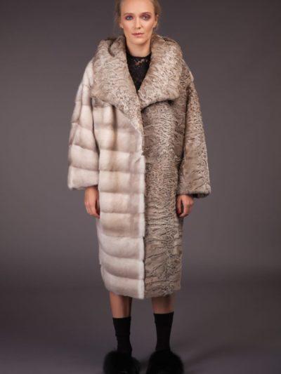 natural pearl mink beige karakul fur combined coat