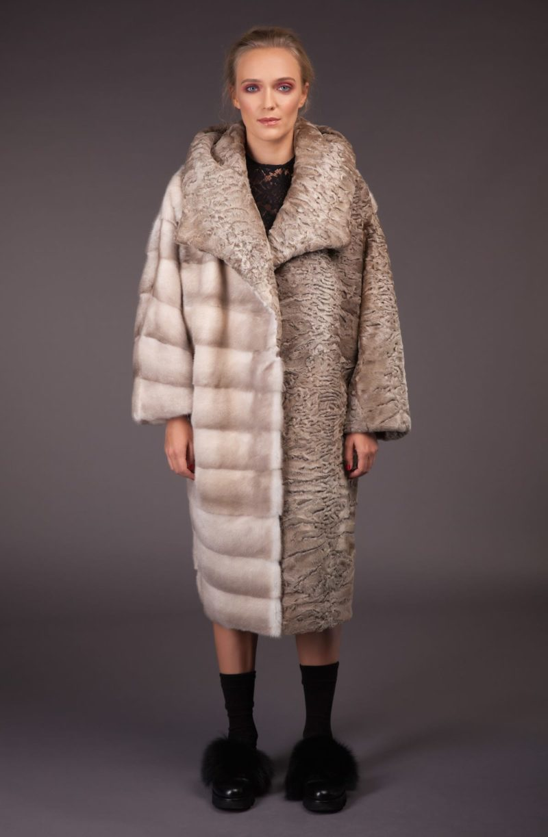 natural pearl mink beige karakul fur combined coat