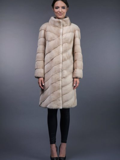 natural pearl mink fur coat