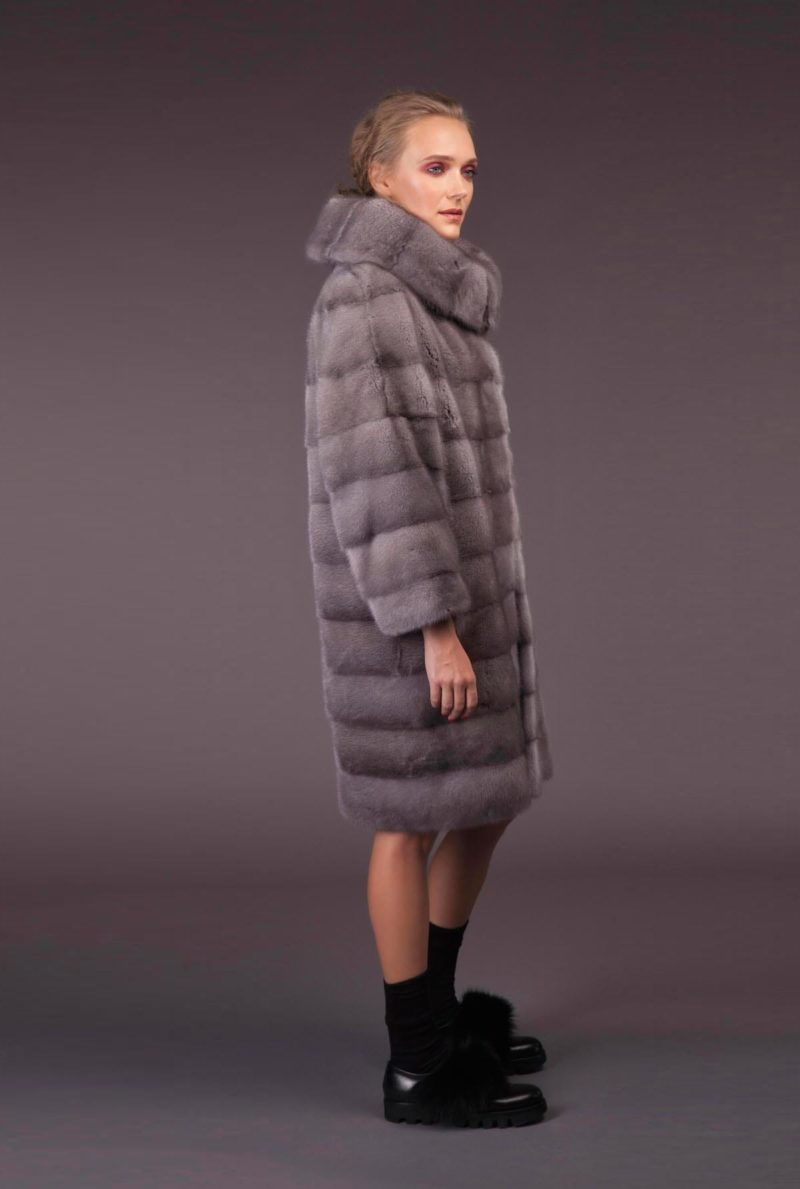 natural sapphire mink fur coat with high double collar