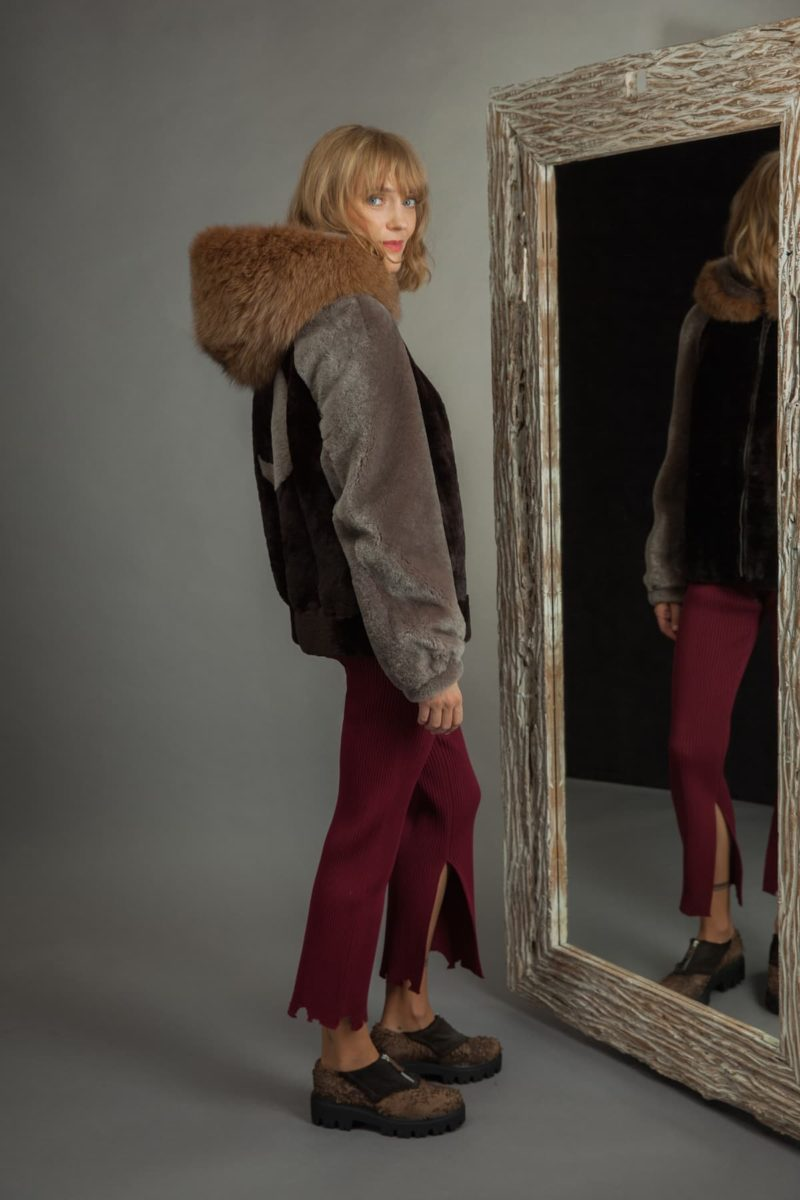 ornamented brown mouton fur hooded bomber jacket