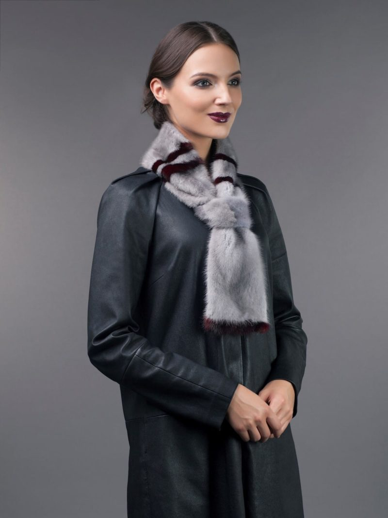 ornamented sapphire mink fur scarf