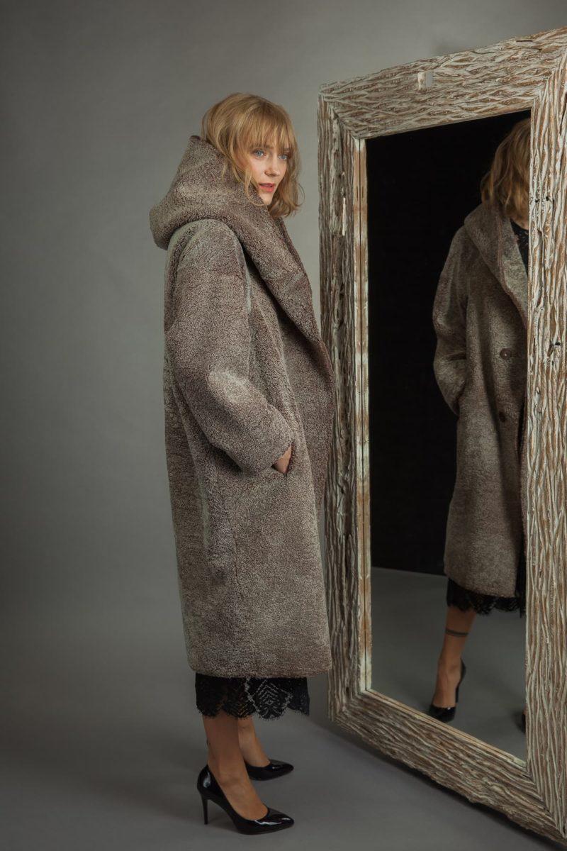 oversize brown sheepskin teddy bear hooded coat