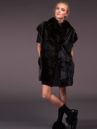 oversize natural black velvet mink fur vest