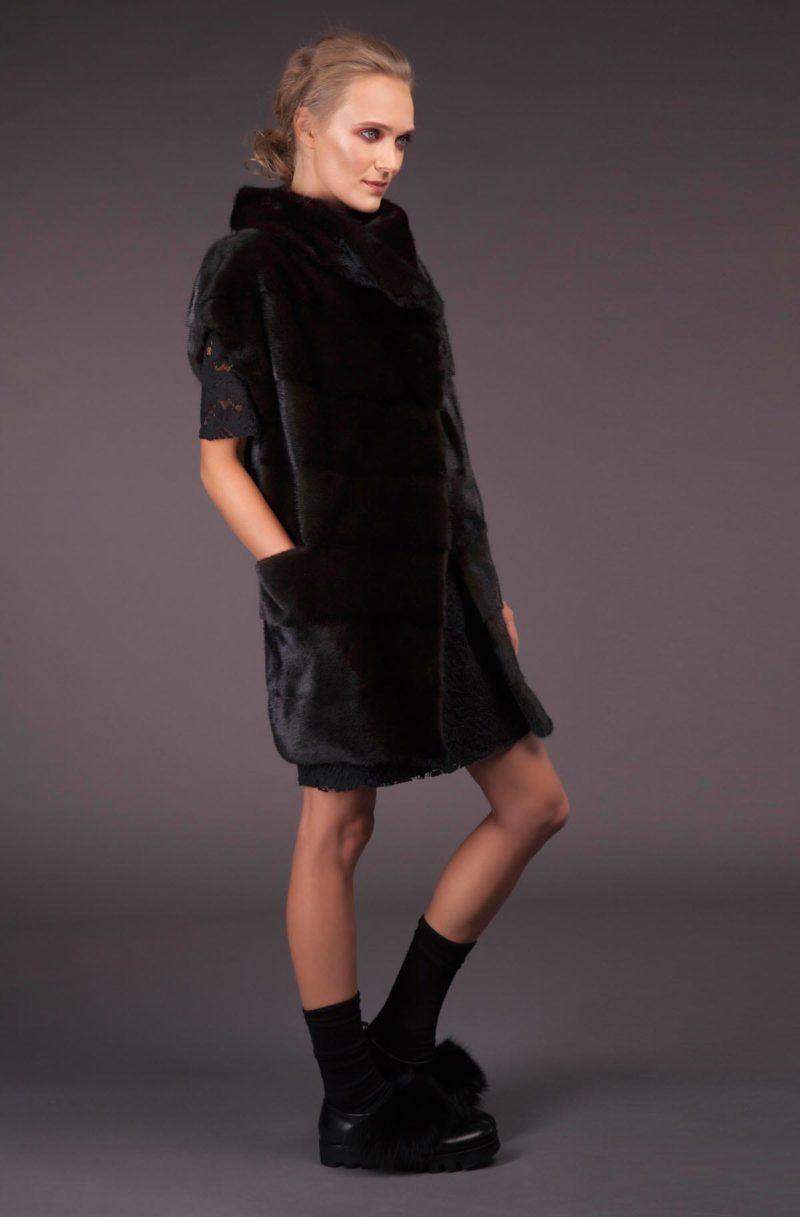 oversize natural black velvet mink fur vest