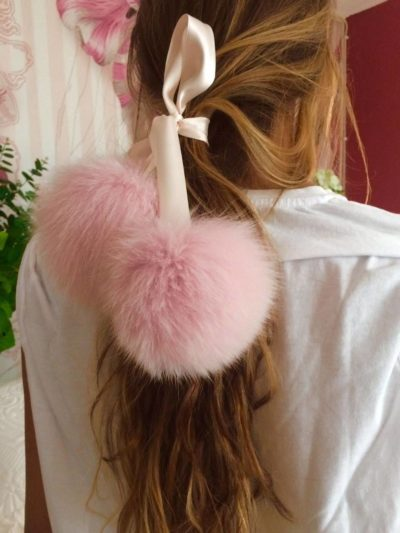 pink fox fur ribbon choker