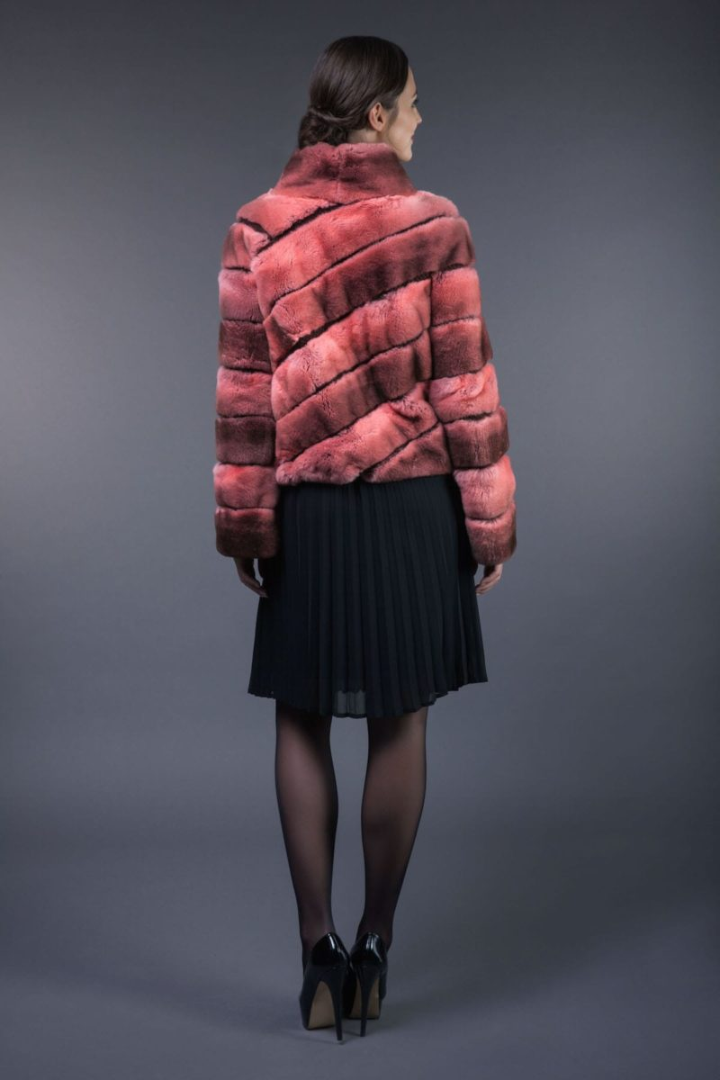 rex rabbit pink fur jacket
