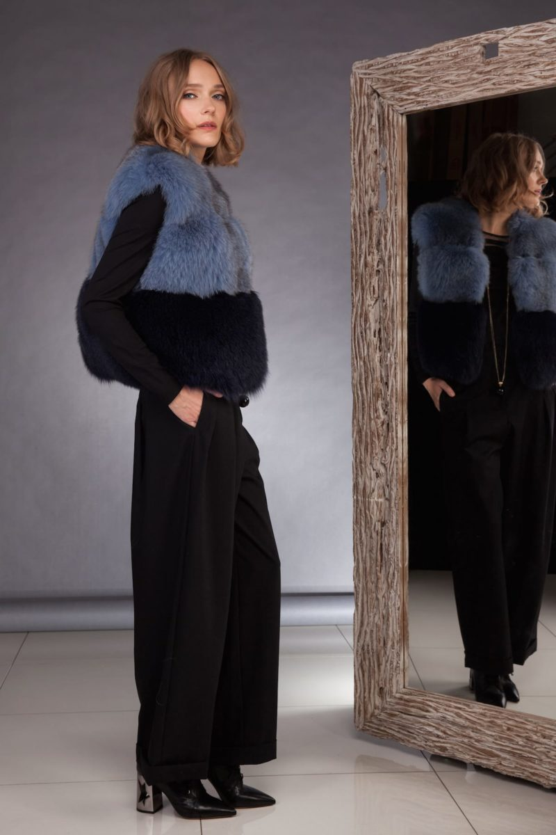 short multicolor fox fur vest in blue black colors