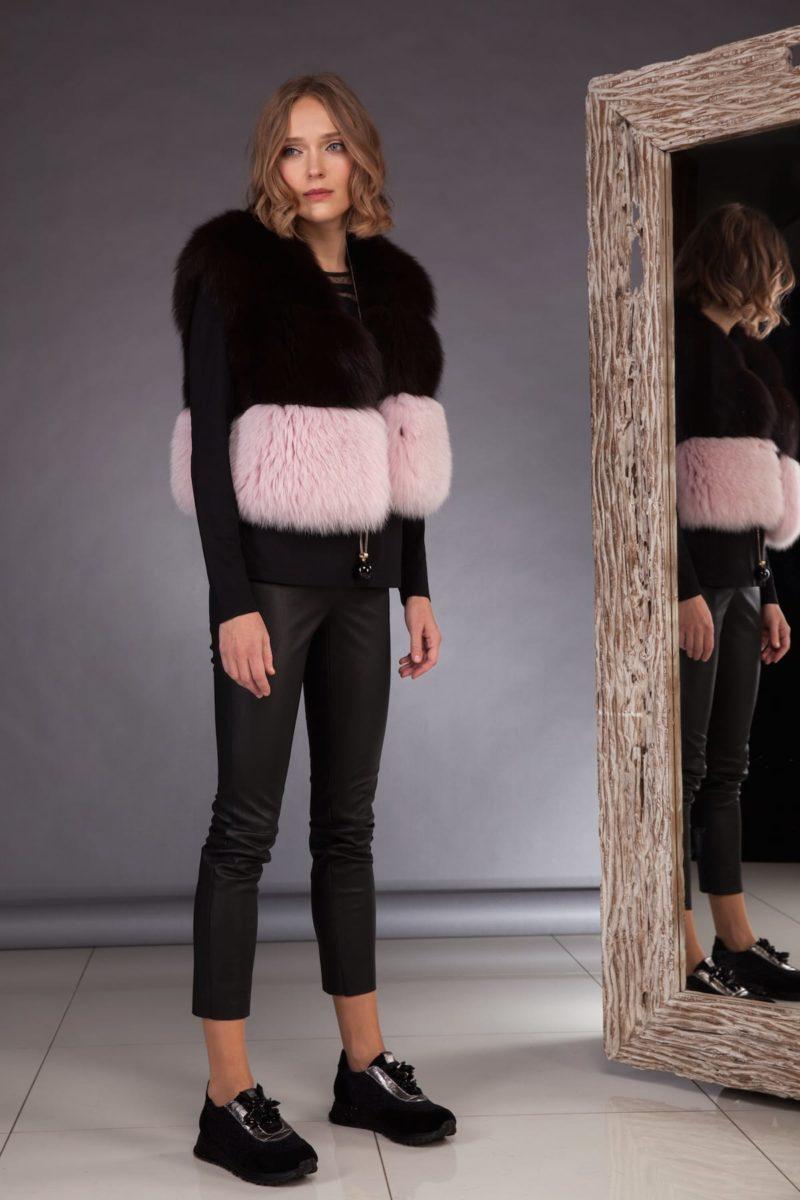 short multicolor fox fur vest in pink brown colors