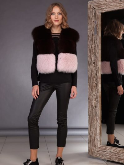 short multicolor fox fur vest in pink brown colors