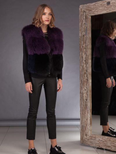 short multicolor fox fur vest in purple black