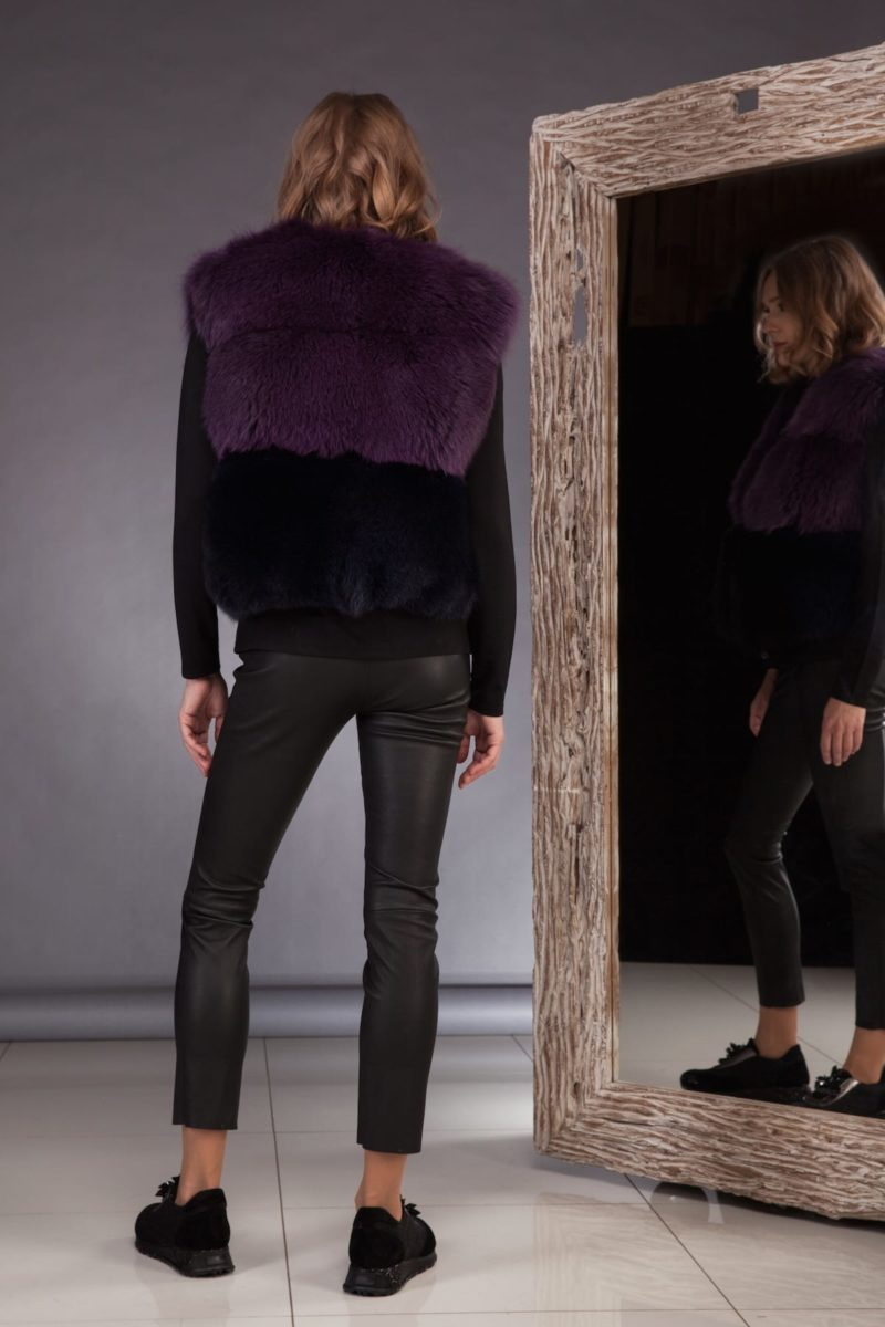 short multicolor fox fur vest in purple black