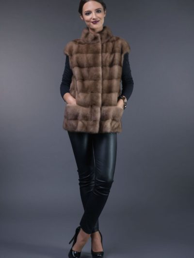 short natural horizontal pastel mink fur vest