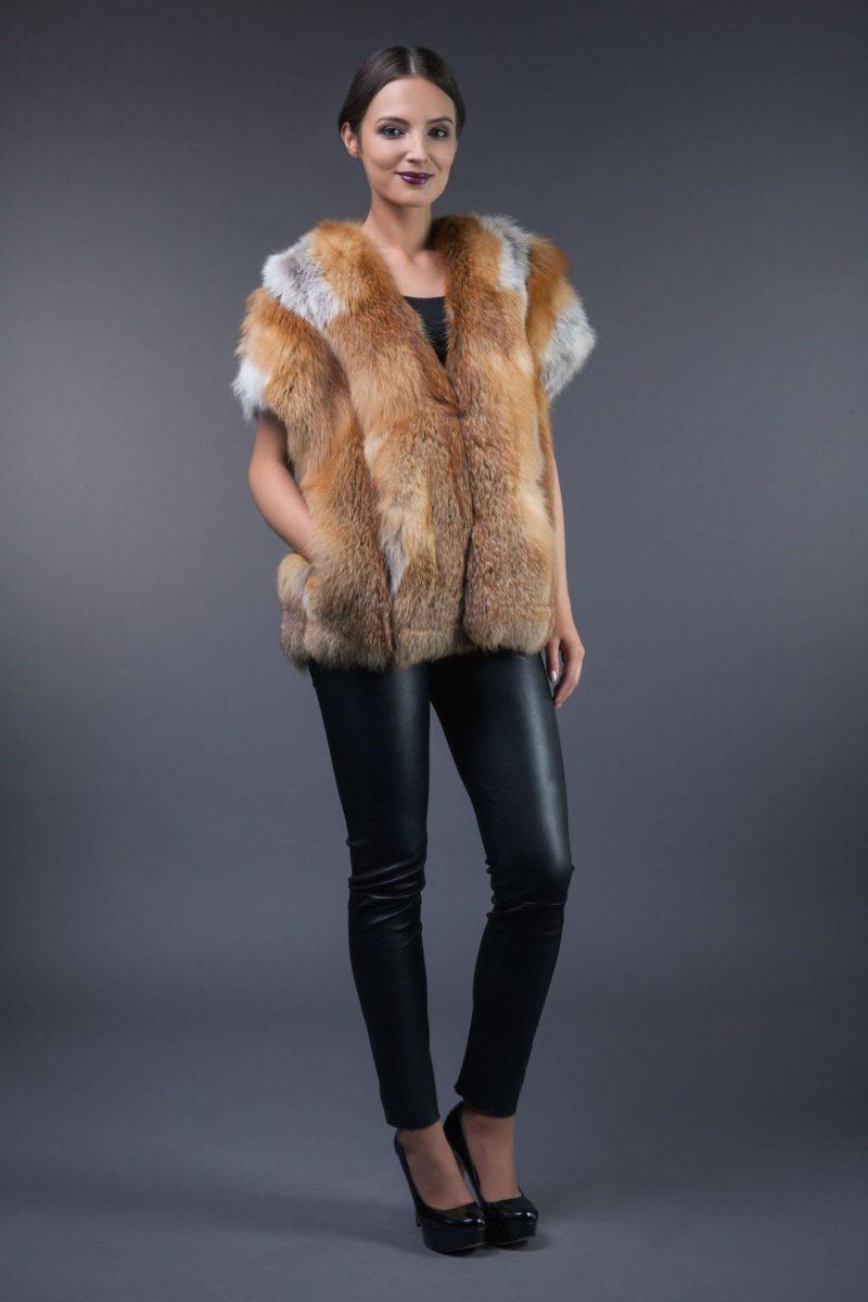 short natural red fox fur vest