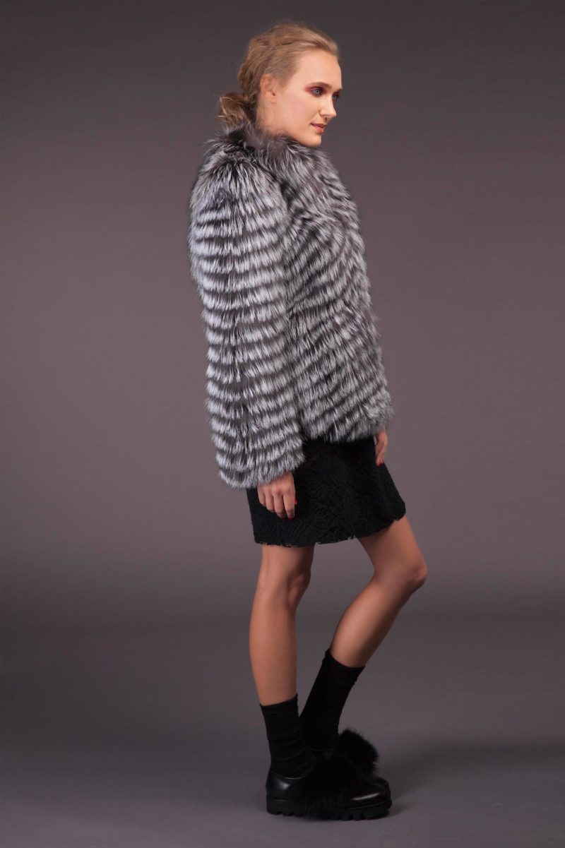 silver fox fur jacket in horizontal stripes