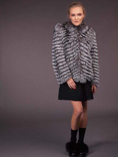 silver fox fur jacket in horizontal stripes