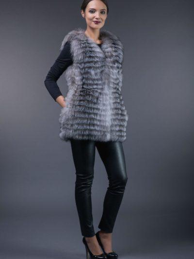 silver fox fur vest in horizontal stripes