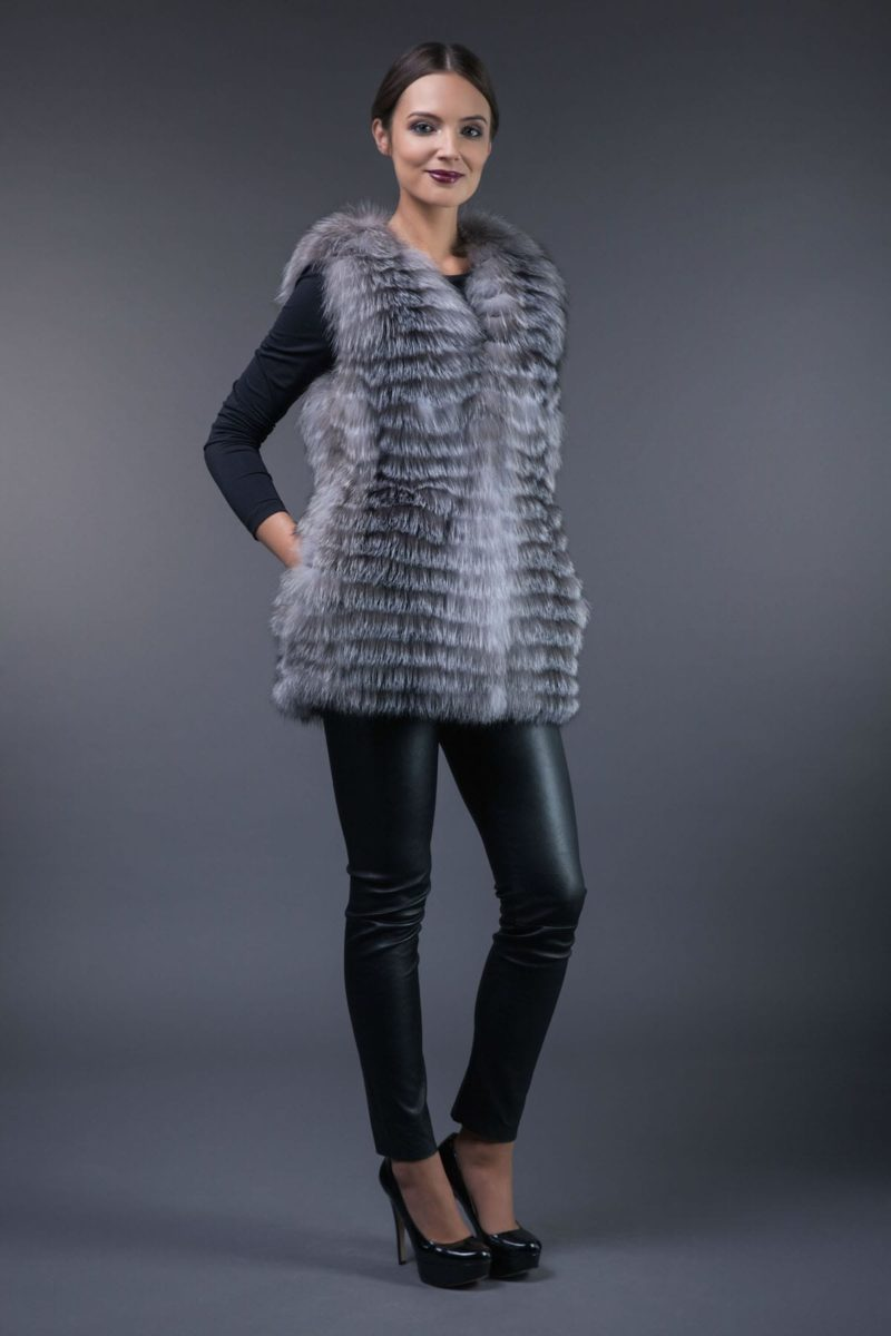 silver fox fur vest in horizontal stripes