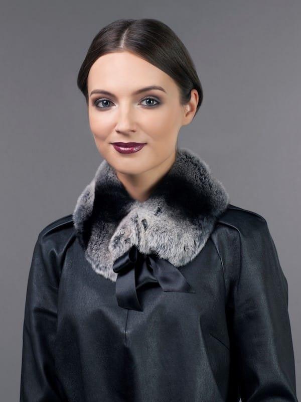 tied gray/black rex rabbit fur scarf