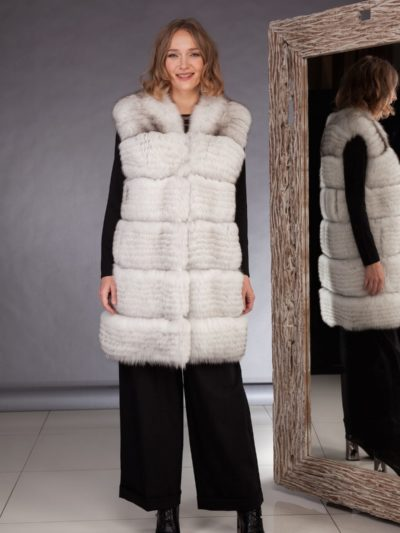 white fox fur vest