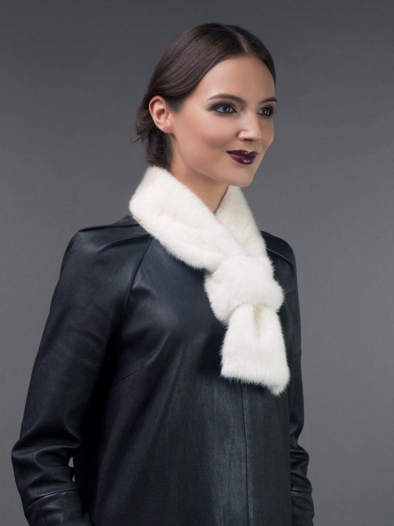 white mink fur scarf