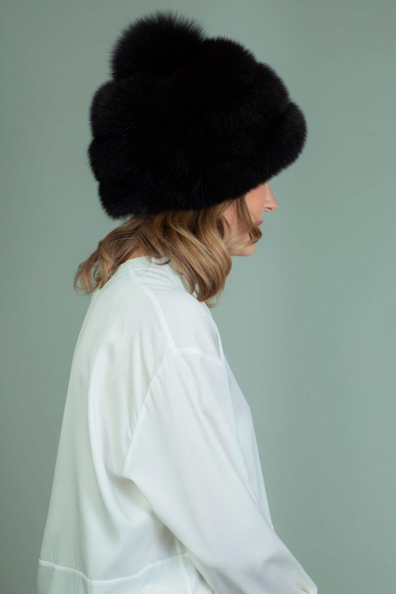black fox fur hat with pom pom-