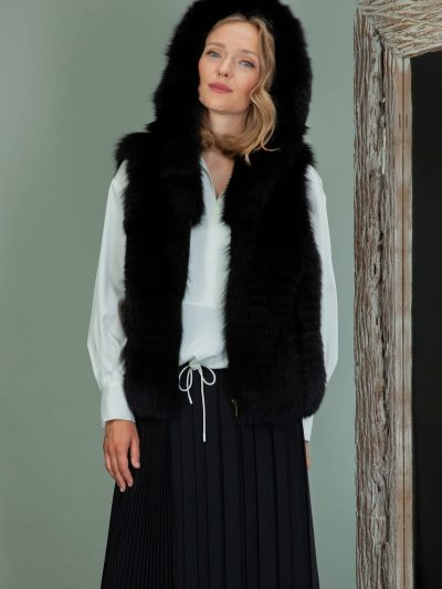black fox fur hooded vest
