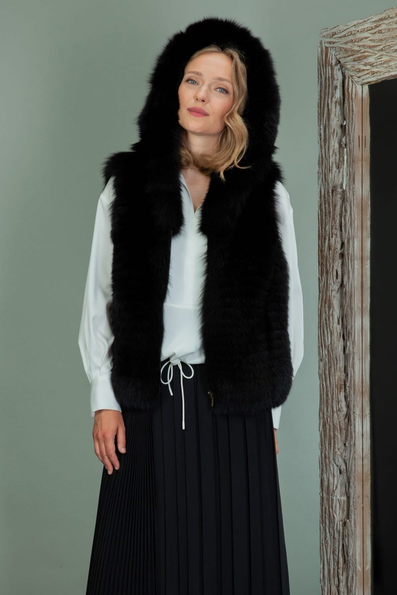 black fox fur hooded vest